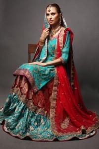 Pakistani Bridal Wear Dresses – Red Ferozi Gharara