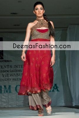 Red Formal Wear Party Designer Dress