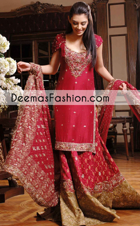 Red Golden Bridal Wear Lehnga