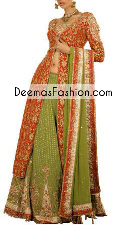 Red Mehndi Green Bridal Lehenga