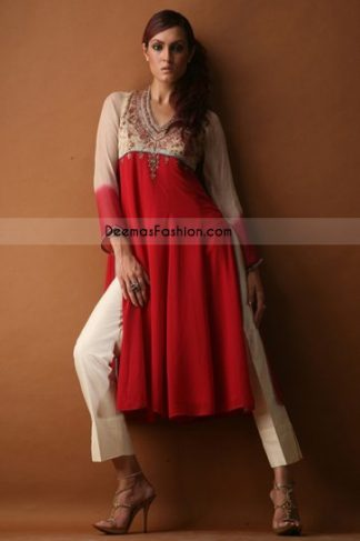 Pakistani Ladies Wear Red Off White Chiffon