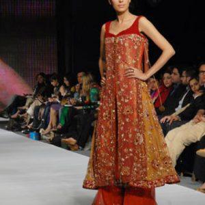 Latest Pakistani Formal - Bridal Wear Red Rust Sharara