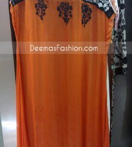 Pakistani Ladies Casual Wear Rust A-Line Dress