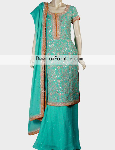 Sea Green Party Wear Formal Sharara
