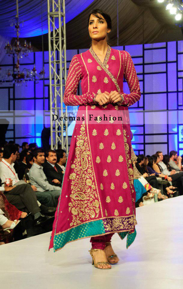 Shocking Pink Pure Chiffon A-Line Andrakha Style Shirt with Churidar