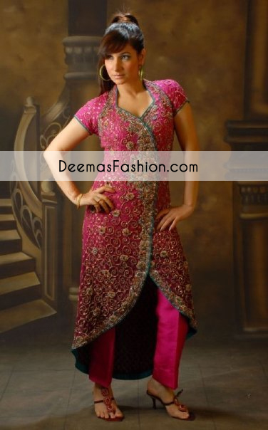 Shocking Pink Heavy Formal Bridal Wear Gown