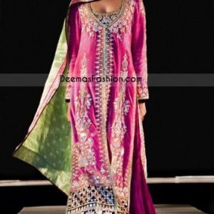 Latest Pakistan Shocking Pink Magenta Bridal Wear Sharara