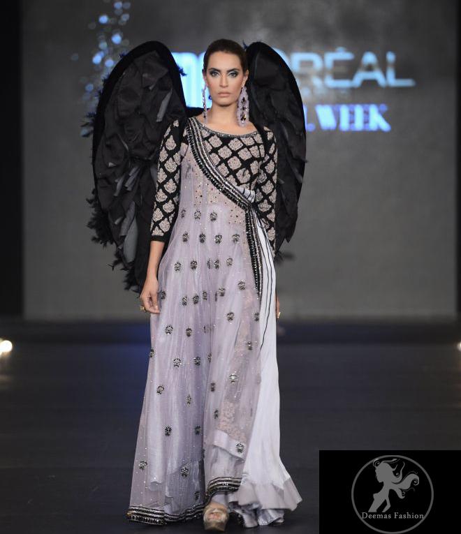 Silver Gray & Black Andrakha Style Pishwas