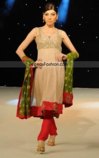 Pakistani Ladies Fashion – Simple Beige Frock Churidar