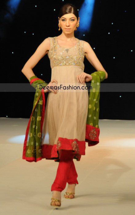 Pakistani Ladies Fashion – Simple Beige Frock Churidar
