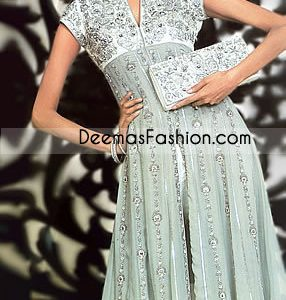 Simple Kali Style Grayish Green Embroidered Chiffon Frock