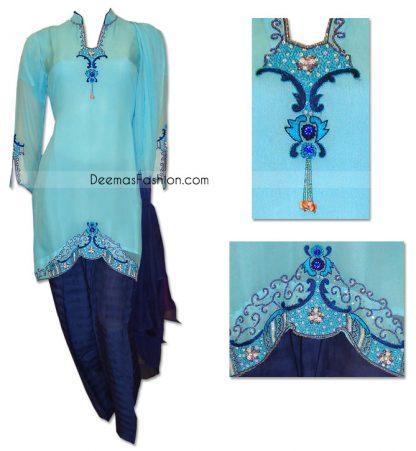 Traditional Pakistani Casual Shalwar Kameez Aqua Blue