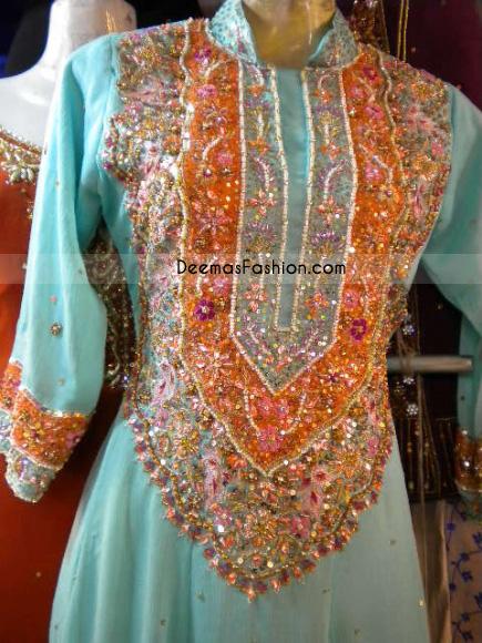 Buy pakistani dress design sky blue latest designer