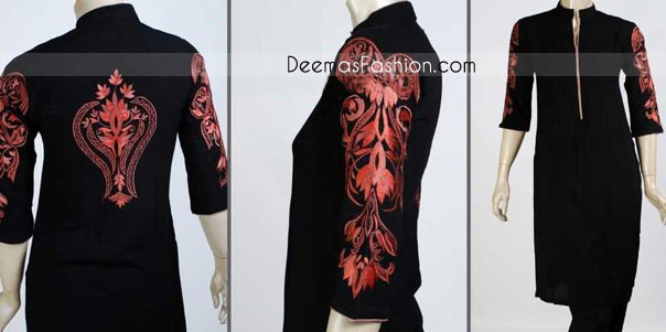 Stylish Black-Red Embroiderd Long Shirt