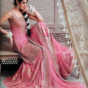 Traditional Pakistani Gharara - Tea Pink Bridal Wear