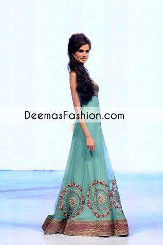 Latest Terquise Green Anarkali Pishwas