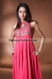 Top Pink Embroidered Pure Chiffon Frock