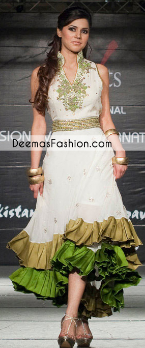 White Double Layer Anarkali Casual Frock
