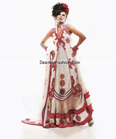 White Frontopen Red Embroidered Pure Chiffon