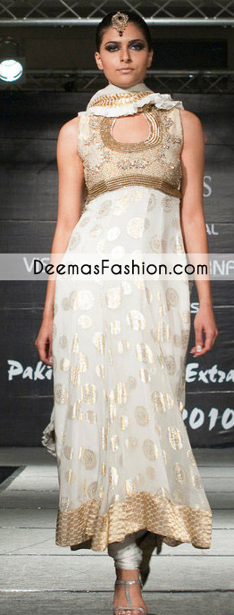 White Party Wear Anarkali Frock Churidar Dress