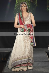 White Red Bridal Wear A Line Frock Lehnga