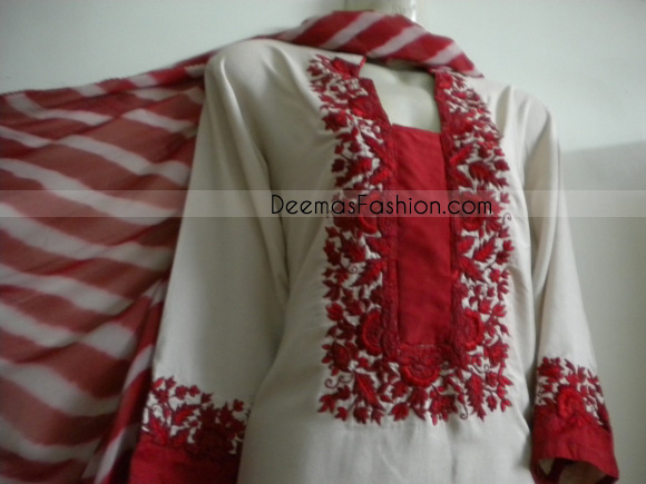 Pakistani Casual Wear – White Suit With Red Embroidery