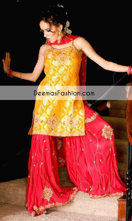 Yellow Red Bridal Mehndi Wear Gharara
