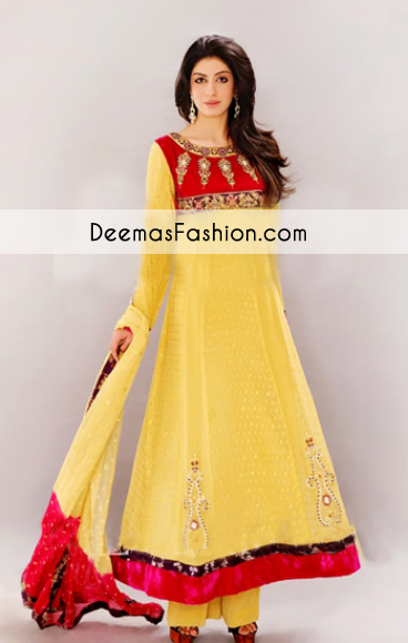 Yellow Aline Anarkali Bridal Wear Dress