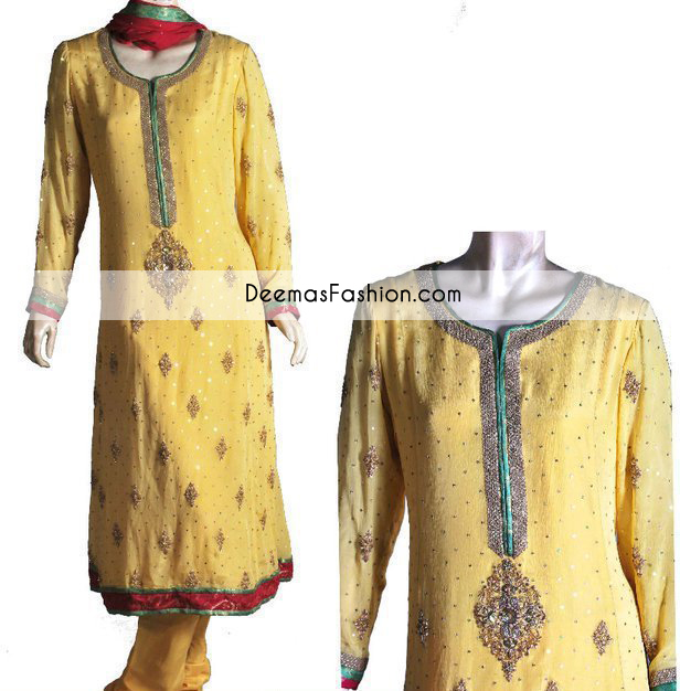 Yellow Aline Bridal Mehndi Wear Kameez Churidar