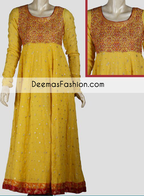 Yellow Aline Bridal Wear Frock
