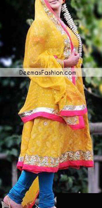 Yellow Blue Bridal Mehndi Wear Anarkali Frock Churidar