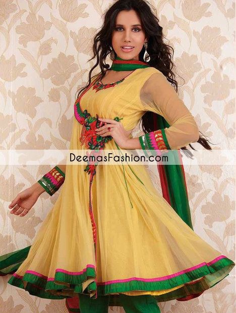 Yellow Bottle Green Andrakha Style Frock Churidar