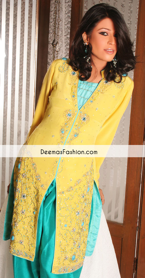 yellow-ferozi-front-open-casual-dress1