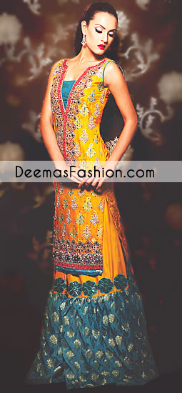 Yellow Ferozi Green Bridal Mehndi Wear Sharara