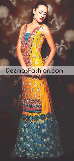 yellow-ferozi-green-bridal-mehndi-wear-sharara1