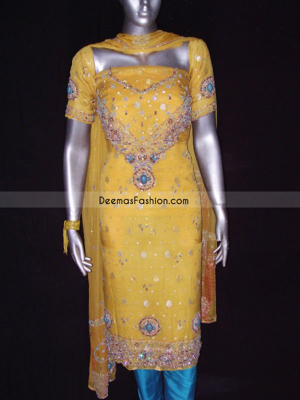 Shalwar Kameez Yellow Ferozi Embroidered Dress