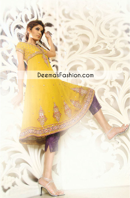 Yellow Mehndi Wear Anarkali Frock with Purple Capri Pants