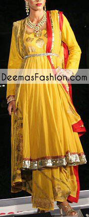 Yellow Mehndi Wear Frock Trouser