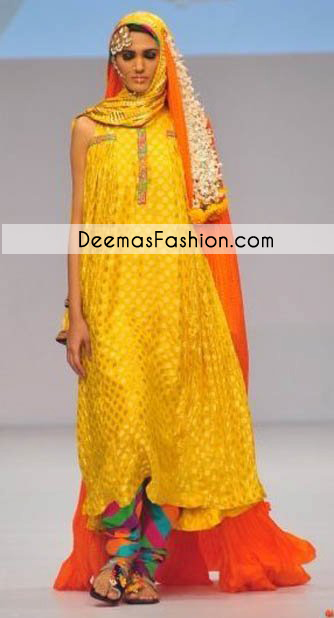 Yellow Multi Color Bridal Wear Pishwas Churidar