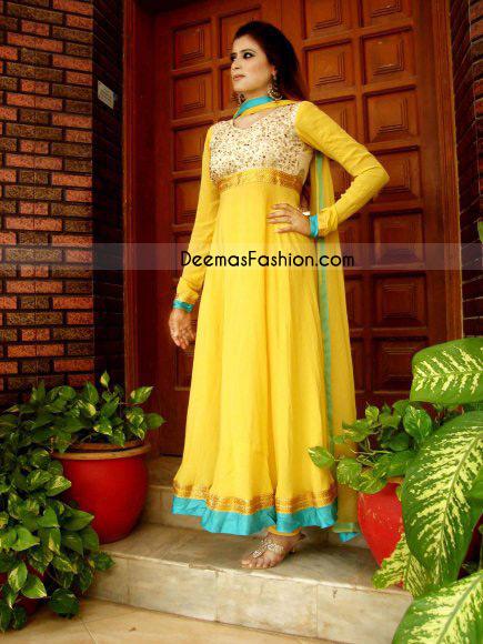 6f2510dbe90e BRIDAL DRESSES – FORMAL WEAR – ANARKALI PISHWAS – SHARARA. Home Anarkali  Pishwas Frocks Yellow Pure Chiffon Anarkali Fashion Dress