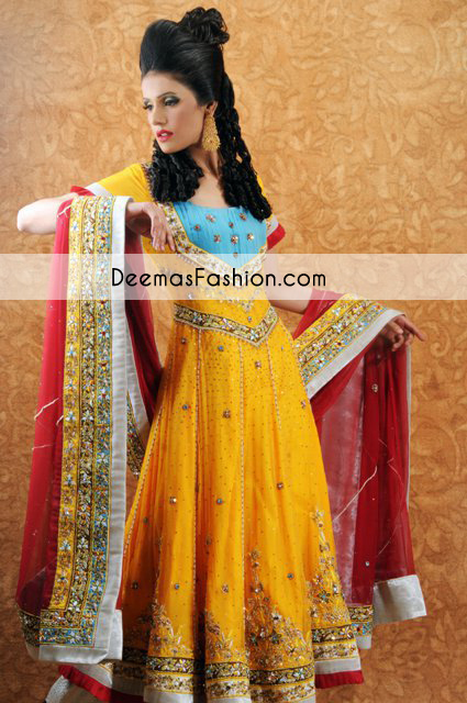Yellow Red Bridal Mehndi Wear Anarkali Frock