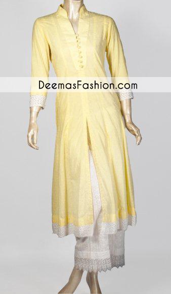 Yellow White Casual Wear Cotton Dress