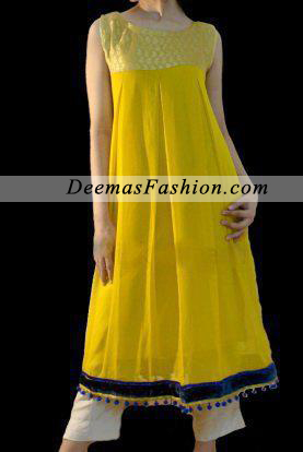 Yellow White Casual Wear Frock