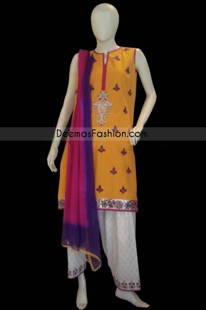 Designer Wear - Yellow & White Shalwar Kameez