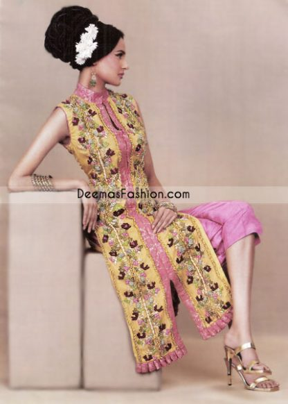 Yellow pure chiffon sleeveless shirt with open front. Stand collar with front closures Pink banarsi jamawar applique along floral embroidery on both sides. Pink banarsi frill used on hemline.